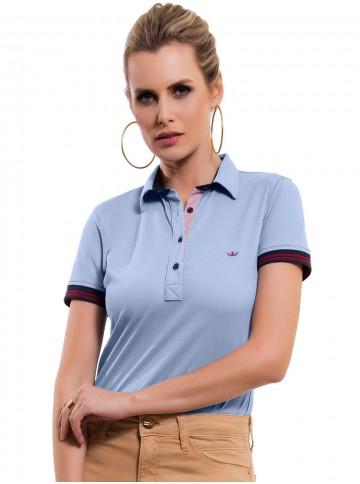camisa polo feminina azul claro principessa melissa look 884668a64cbec