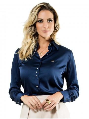Camisa Azul Marinho Feminina de Cetim Principessa Jussara