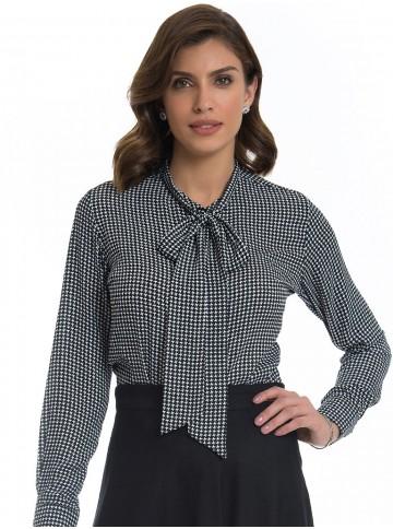 Camisa Estampada Pied Poule Principessa Francisca