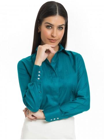 Camisa Feminina Premium Turquesa Principessa Joziana