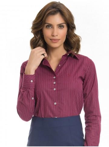 Camisa Feminina Listrada Bordo Premium Principessa Kenia