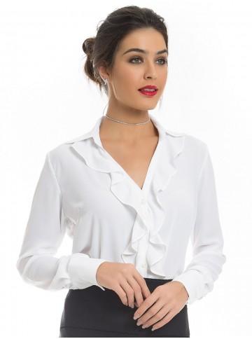 Camisa Branca com Babado Principessa Helena