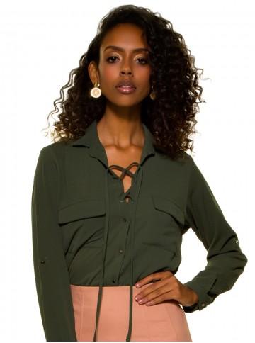 Camisa Feminina Verde Militar com Amarração Principessa Oriana