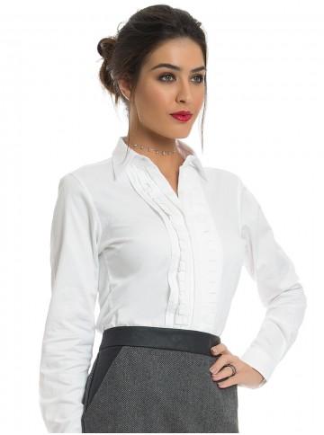 Camisa Feminina Branca com Drapeado Principessa Benita