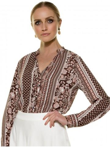Camisa Estampada Marrom Principessa Luciana