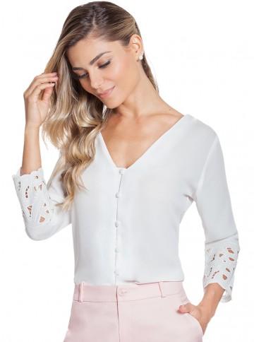 Camisa Feminina Bordado Richilieu Principessa Adriele
