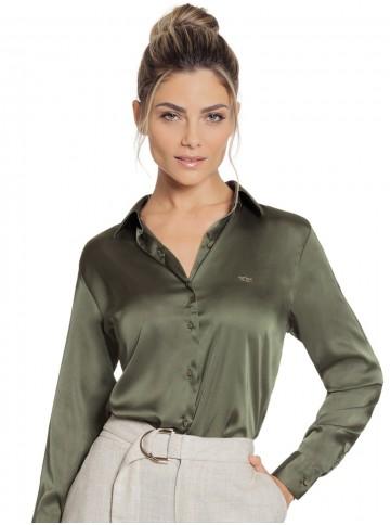 Camisa de Cetim Verde Militar Principessa Daiana