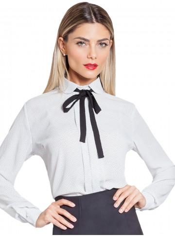 Camisa Feminina Off White de Poá com Gola Laço Principessa Gaia