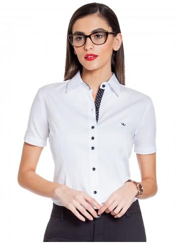 Camisa Feminina Social Branca com Detalhes Principessa Crislaine