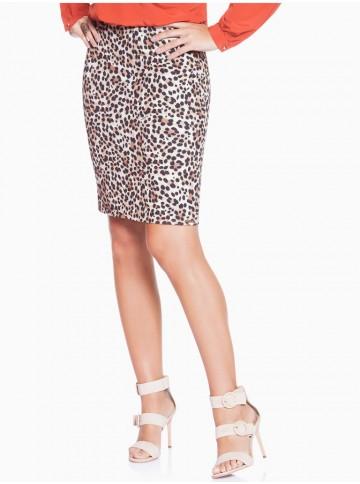 Saia Lápis Animal Print Leopardo Principessa Cleide